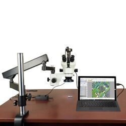 7x-45x Stereo Microscope+articulated Stand+ 144 Led Ring Light+1.3m Usb Camera