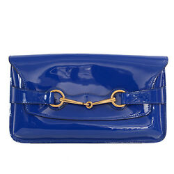 37726 auth GUCCI electric blue patent leather Clutch Bag
