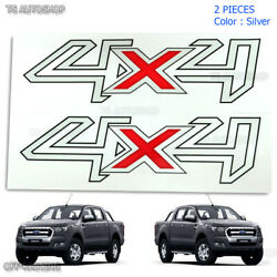 Trim 2 Pc Set Sticker Decal 4x4 Silver Red For Ford Ranger T6 Wildtrak 2012 2018
