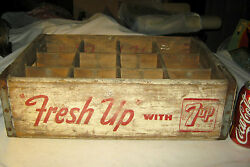 Vintage Usa Country Barn Store Wood 7 Up Soda Bottle Art Sign Box Holder Crate