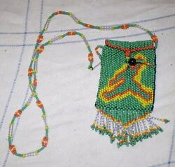 Native American Beaded Medicine Pouch Necklace Very Tight Beading Free Shipping