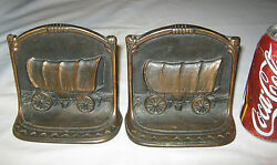 Antique W.h. Howell Co. U.s.a. Cast Iron Western Cowboy Horse Wagon Art Bookends