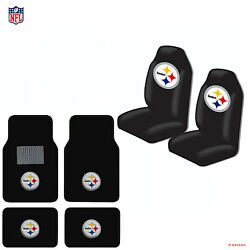 New Nfl Pittsburgh Steelers Car Truck Seat Covers And Carpet Floor Mats Set