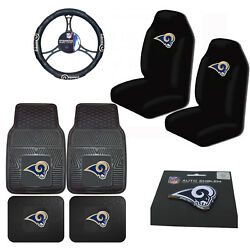 New 8pcs Nfl Los Angeles Rams Seat Covers Floor Mats Steering Wheel Cover