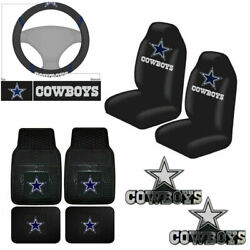 New 7pcs Nfl Dallas Cowboys Seat Covers Floor Mats Steering Wheel Cover