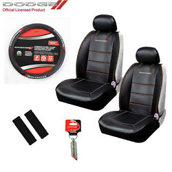 New 6pc Dodge Elite Logo Car Truck Suv Front Seat Covers Steering Wheel Cover