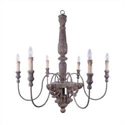 Big Chandelier Light Fixture With 6 Arms In Aged Old Fashioned Wood And Metal