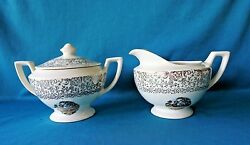 Cronin China Colonial Courting Couple People Dinnerware Creamer And Sugar Bowl