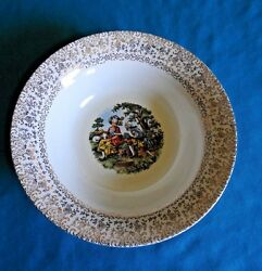 Cronin China Colonial Courting Couple People Round Vegetable Bowl 9 1/2 Rim