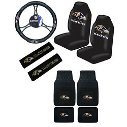 New Nfl Baltimore Ravens Car Truck Seat Covers Steering Wheel Cover Floor Mats