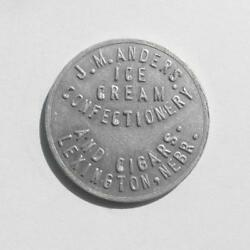 Old Antique 50andcent Trade Token Coin J.m. Anders Ice Cream And Cigars Lexington Ne