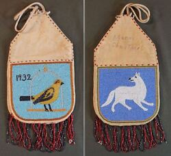 Fine Native American Plains 2 Sided Beaded Medicine Bag Bird And White Wolf 1932