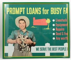 Original 1950s Savings And Loan Bank Pig Farmer Prompt Loans For Busy Farms Sign