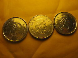 Canada 2006 5 Cents Coins 3 Varieties Mint Markp Mark And No P .