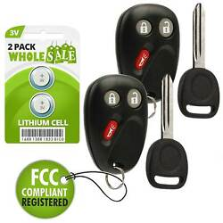 2 Replacement For 2003 2004 2005 2006 2007 Gmc Sierra 1500 2500 Key + Fob