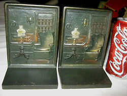 Antique Bradley Hubbard Victorian Cast Iron Home Rug Lamp Chair Room Art Bookend