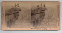 1894 Stereo Card By Strohmeyer And Wyman Of 3 People On Overhang Rock In Yosemite