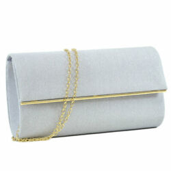 Womens Handbag Glitter Frosted Evening Clutch Wedding Crossbody Wallet Purse $19.99