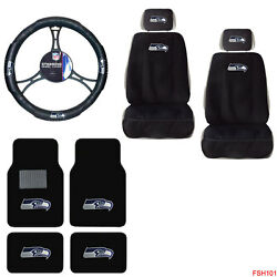 Nfl Seattle Seahawks Car Truck Seat Covers Steering Wheel Cover And Floor Mats Set