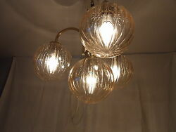 Mid Century 60´s German 4 Glass Ball Ceiling Lamp Chandelier
