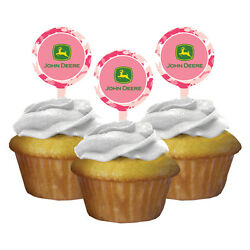 John Deere Pink Camouflage Cupcake Toppers 12 Birthday Party Supplies Cake