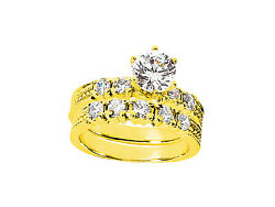 Genuine 1.20ct Round Cut Diamond Engagement Ring Set Solid 18k Gold G Si1