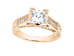 1.10ct Princess Round Cut Diamond Antique Style Engagement Ring 18k Gold G Si1