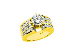 Natural 2.00ct Round Cut Diamond 3row Bridal Engagement Ring Solid 14k Gold