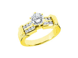 Natural 0.75ct Round Cut Diamond 2row Engagement Ring Solid 18k Gold Ij Si2