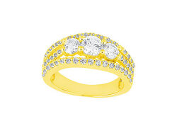 2.00ct Round Cut Diamond Accented 3stone Engagement Ring 14k Gold I Si2