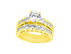 Natural 2.25ct Round Cut Diamond Engagement Ring Set Solid 18k Gold Ij Si2