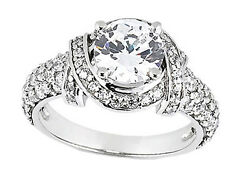 Genuine 1.75ct Round Cut Diamond Pave Engagement Ring Solid 18k Gold Ij Si2