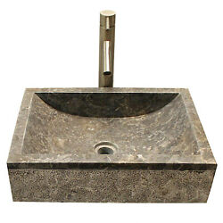 Gray Rectangle Marble Vessel Counter Top Sink With Texture Base