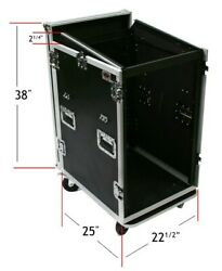 16 And 12 Space Rack Mount Slanted Mixer And Amp Combo Ata Road Flight Case Console