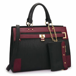 Women Handbags Faux Leather Work Padlock Satchel Tote Bag Purse with Wallet $44.99