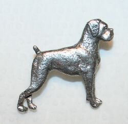 BOXER UnCropped Dog Harris Fine PEWTER PIN Jewelry Art USA Made