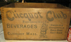 Antique Ma Ice Country Sign Wood Clicquot Club Ginger Ale Soda Bottle Art Box Us