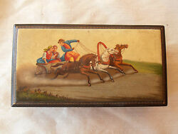 Older Russian Laquer Box Fedoskino Horses And Carriage 1961 Hand Painted 6