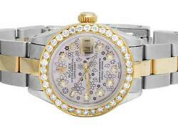 Ladies 18k Stainless Steel Rolex Datejust Oyster Pink Dial Diamond Watch 2.5 Ct