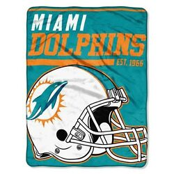 New Nfl Miami Dolphins Soft Micro Rasche Large Throw Blanket 46 X 60