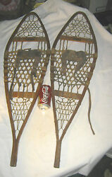 Antique Primitive Americana Country Snocraft Norway Maine Usa Wood Art Snowshoes