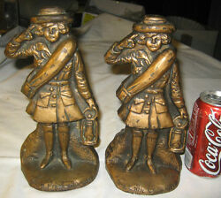 Pair Of 2 Antique Usa Girl Scouts The Little Camper Cast Iron Oil Lamp Doorstops