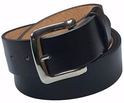 Men#x27;s Plain Black Leather Casual Dress Belt With Removable Snap On Silver Buckle $8.99