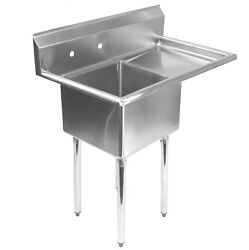 Stainless Steel Commercial Kitchen Utility Sink With Drainboard - 39 Wide