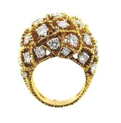 1970s 18k Gold Dome 3.90ctw Diamond Dome Ring