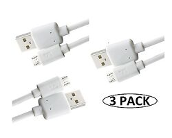 3 Pack Krofel™ 10 Feet Long White Fast Micro USB Charge Charger Data Sync Cable