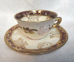 Vtg Bone China Colonial Couple Doll Cup And Saucer, Gold Gilt, Red, 2.25