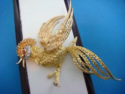 Vintage 18k Gold Large Handmade Fire Bird With Diamonds And Ruby 26.2 Grams