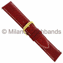 22mm Stuller Red Genuine Sport Calf Padded Contrast Stitched Mens Watch Band