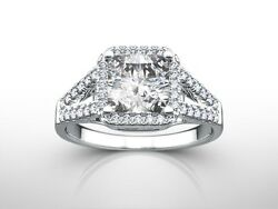 1.75 Ct Radiant H/si1 Diamond Solitaire Engagement Ring White Gold Enhanced